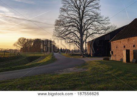 Old Farm Along Rural Road Lit By Low Sunlight.