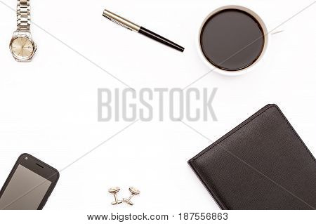 Black Diary, Pen, Cup Of Black Coffee And Phone On White Background. Minimal Business Concept For De