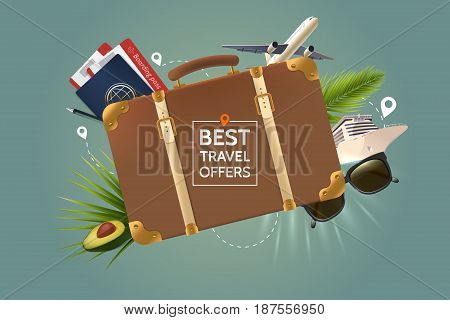 Best travel offer concept. Retro brown suitcase on the background of the attributes of tourism. Air plane, passport, tickets, sunglasses, palm leaves and cruise ship. Vector illustration.