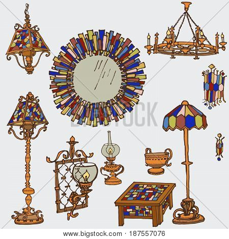 Vector set of lights and decor, items for indoor and outdoor, mirror, table, floor lamps with stained glass and bronze - doodle in bright colors
