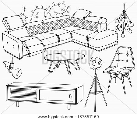 sketch of a set of furniture for the living room in the loft ,  workplace, big corner sofa, lamp, table, for interior decoration of room indoor, vector black lines in white background
