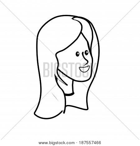 line happy cute woman face with hairstyle, vector illustration