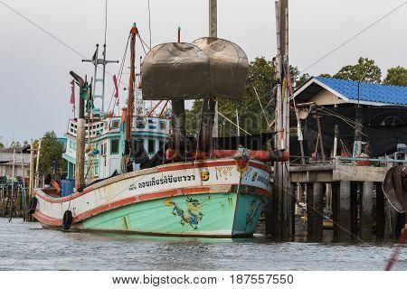 SAMUTHSAKORN THAILAND - FEBRUARY 14 : thai fishery boat style in samuthsakorn province floating in local fishing village on february 142015 in samuthsakorn thailand