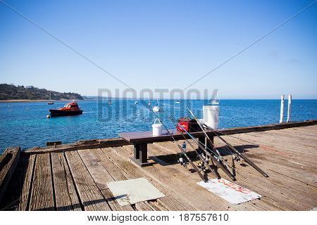 Flinders back beach and fishing rods on a hot summer's afternoon in the Mornington Peninsula, Victoria, Australia