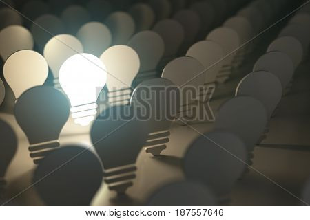 Light bulbs symbols with glowing one. Idea or difference concept background. 3d illustration