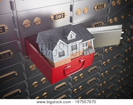 House in opened safe deposit box. Home safety or investment and savings concept. 3d illustration