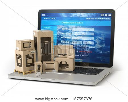 Cardboard boxes with appliaces on PC laptop keyboard. E-commerce, online shopping and delivery concept. 3d illustration