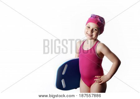 Little Caucasian 6 Years Old Swimmer