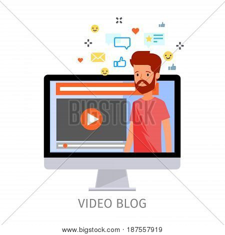 Concept of video blogging. The guy is in his video blog on the computer screen. Flat design, vector illustration.