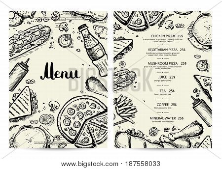 Food and drink menu design with prices. Fast food vector template with hand drawn pizza, sandwich, hot dog, chicken, drink pencil doodles. Cafe vintage card of junk food with snack linear sketches.