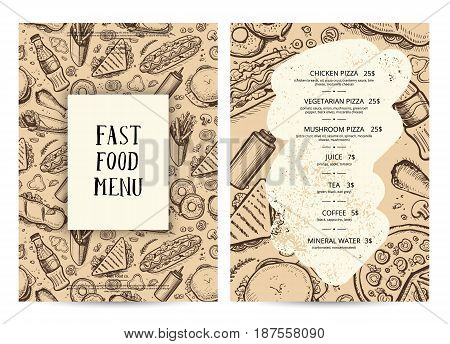 Restaurant food menu typography template. Fast food vector layout with hand drawn pizza, hot dog, chicken, sandwich, drink pencil doodles. Cafe vintage card of junk food with snack linear sketches.