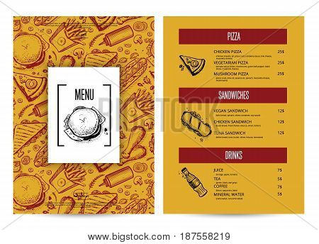 Creative fast food menu with hand drawn graphic. Restaurant food vector layout with pizza, hot dog, sandwich, chicken, drink doodles. Cafe vintage price card of junk food with snack linear sketches