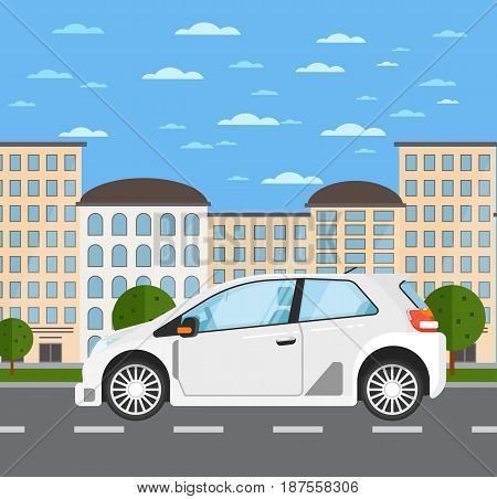 Family universal car in urban landscape. Comfortable modern auto vehicle, people transportation concept. City street road traffic vector illustration, cityscape background with skyscrapers.