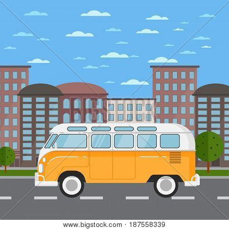 Classic retro bus in urban landscape. Vintage auto vehicle, public people transportation, automobile service. City street road traffic vector illustration, cityscape background with skyscrapers.