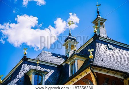 Close up of the Roof of baroque palace Pillnitz is located near Dresden on the River Elbe, Saxony, Germany.