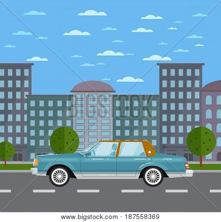 Classic retro sedan in urban landscape. Vintage family auto vehicle, old school car, people transportation. City street road traffic vector illustration, cityscape background with skyscrapers.