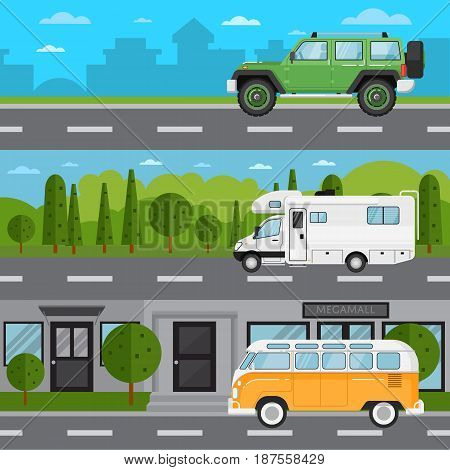 Off road car, camper van and retro bus on highway. Road traffic vector illustration set with countryside and cityscape background. Modern automobile, people transportation, auto vehicle in flat design