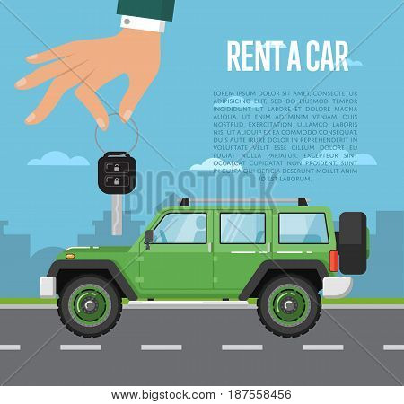 Rent a car concept with extreme off road car and hand holding auto key. Transport service, online pre order car vector illustration. Auto business, test drive, selling, leasing or renting car banner