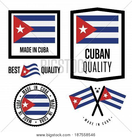 Cuba quality isolated label set for goods. Exporting stamp with cuban flag, nation manufacturer certificate element, country product vector emblem. Made in Cuba badge collection.