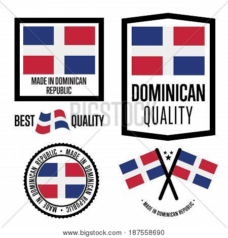 Dominican Republic quality isolated label set for goods. Exporting stamp with dominican flag, nation manufacturer certificate element, country product vector emblem. Made in Dominican Republic badge