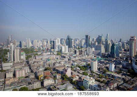 BANGKOK THAILAND - APRIL 21 : aerial view of skyscraper in heart of bangkok thailand capital on april 21 2015 in bangkok thailand