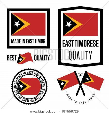 East Timor quality isolated label set for goods. Exporting stamp with timorese flag, nation manufacturer certificate element, country product vector emblem. Made in East Timor badge collection.