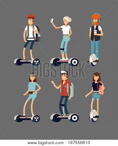 Set of active young peoples with electric scooter on new modern technology hoverboard, man woman and child self balance wheel transport gyroscooter ride the street. Vector flat illustrator