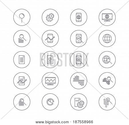Set of Data Analysis icons. Vector Line Icons with magnifier, graph, circular graph and segment, gadgets, planet, diagrams, arrows. Vector illustration isolated on white background