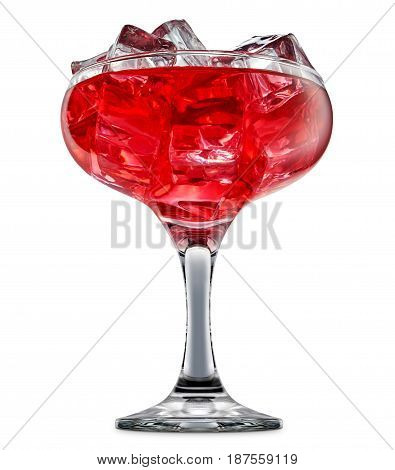 fresh fruit alcohol cocktail or mocktail in margarita glass with red beverage and ice cubes isolated on white background