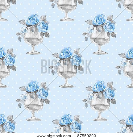 Watercolor floral seamless pattern. Bouquet of flowers 4