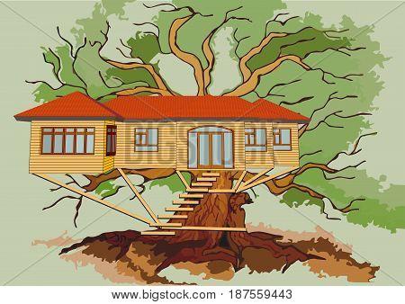 treehouse on branch on a green oak