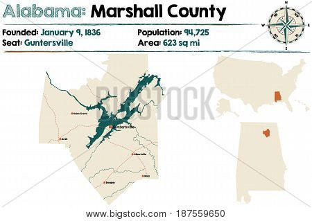 Large and detailed map of Marshall County in Alabama