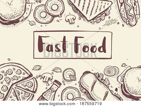Fast food vintage hand drawn graphic design. Restaurant menu vector illustration with burger, pizza, french fries, hot dog. Cafe price catalog, junk food retro poster with snack linear sketches