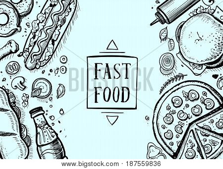 Fast food hand drawn retro background. Restaurant or cafe menu cover with pizza, french fries, sandwich, hot dog doodles. Food design vector illustration template with snack linear sketches.