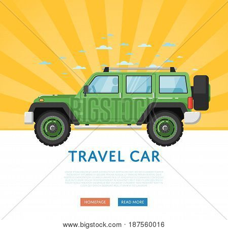 Website design with extreme travel car. Off road 4x4 auto vehicle, modern suv car on blue striped background banner. Auto business, sale or rent transport online service vector illustration concept