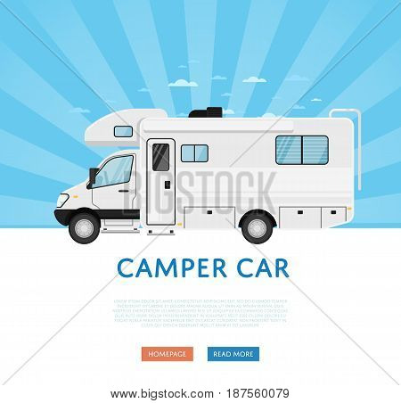 Website design with camper van. Comfortable minibus, family trailer on blue striped background, modern auto vehicle banner. Auto business, sale or rent transport online service vector illustration