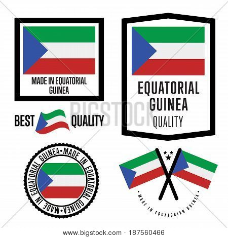 Equatorial Guinea quality isolated label set for goods. Exporting stamp with nation flag, manufacturer certificate element, country product vector emblem. Made in Equatorial Guinea badge collection.