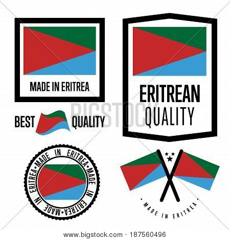 Eritrea quality isolated label set for goods. Exporting stamp with eritrean flag, nation manufacturer certificate element, country product vector emblem. Made in Eritrea badge collection.