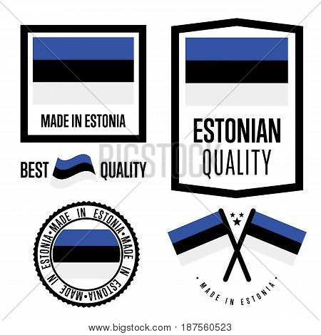 Estonia quality isolated label set for goods. Exporting stamp with estonian flag, nation manufacturer certificate element, country product vector emblem. Made in Estonia badge collection.