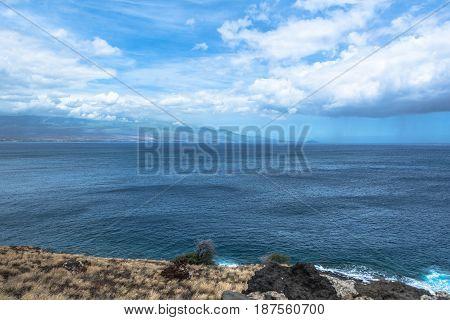 The ocean along the coast of Western Maui, Hawaii