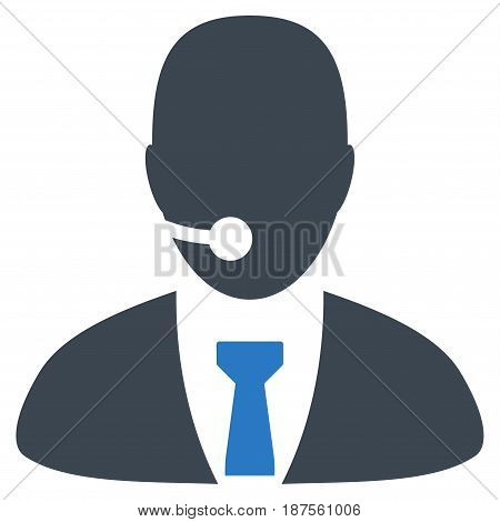 Call Center Manager flat vector illustration. An isolated illustration on a white background.