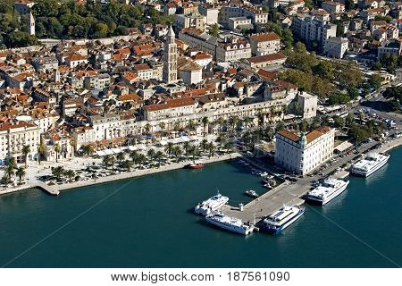 Town Split city center Diocletian palace Cathedral and Port authority building aerial view