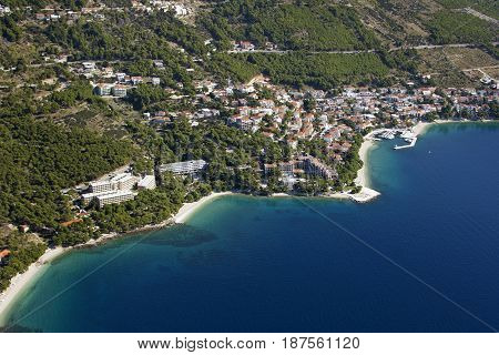 Village Brela famous tourist destination on Adriatic coast in Croatia