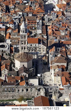 Aerial view of Cathedral and Peristyle in center of Diocletian Palace town Split Croatia