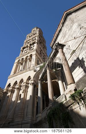 Bell Tower of cathedral of St Domnius and Diocletian mausoleum in Split town in Croatia