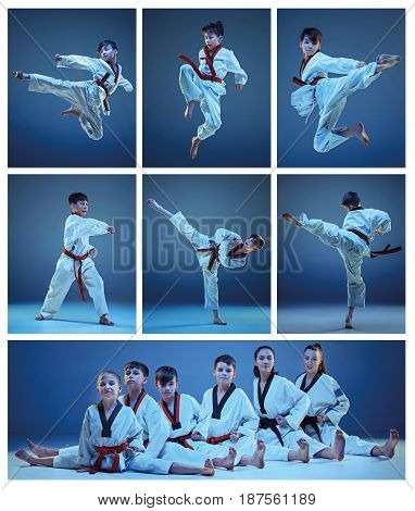 The studio shot of group of kids training karate martial arts on blue backlground. Collage