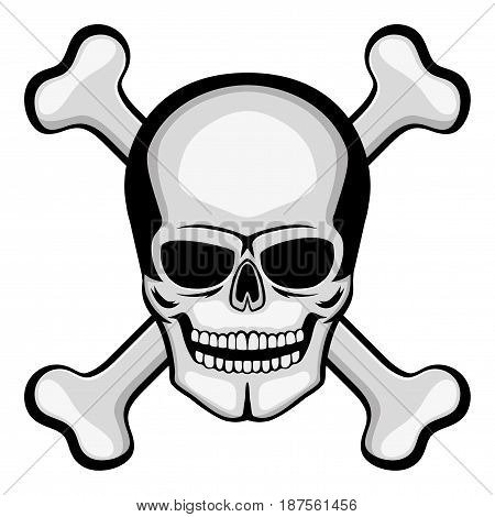 Skull and bones on a white background.