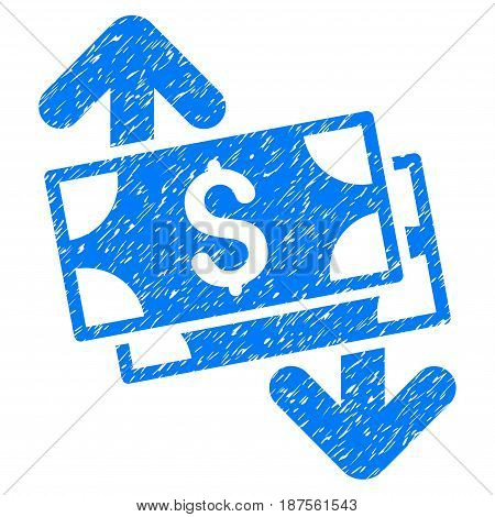 Grunge Banknotes Spending icon with grunge design and dust texture. Unclean vector blue pictogram for rubber seal stamp imitations and watermarks. Draft sticker symbol.