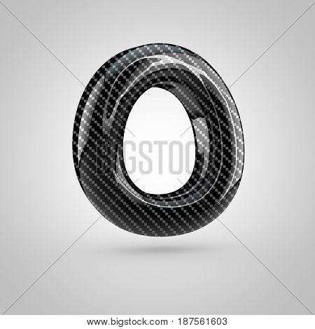 Black Carbon Letter O Uppercase Isolated On White Background