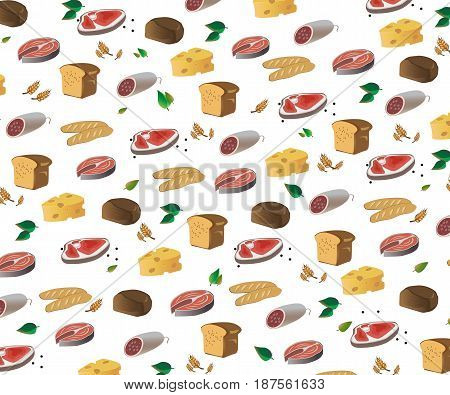 Illustration meat products and bakery products. Hat chef